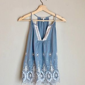 Joie Embroidered Chambray Eyelet Tank Top